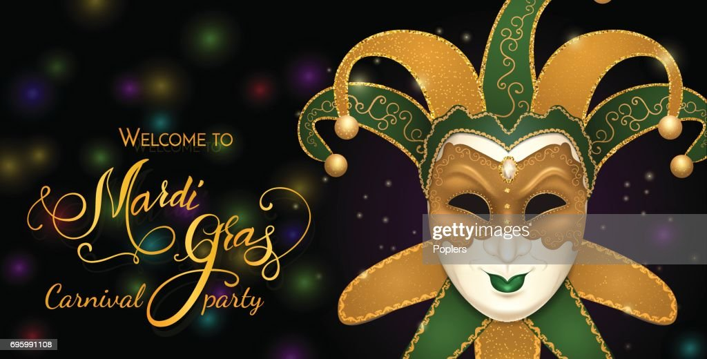 Carnival mask with shiny glitter texture. Bokeh lights and fireworks background. Invitation card template. Vector illustration EPS10.