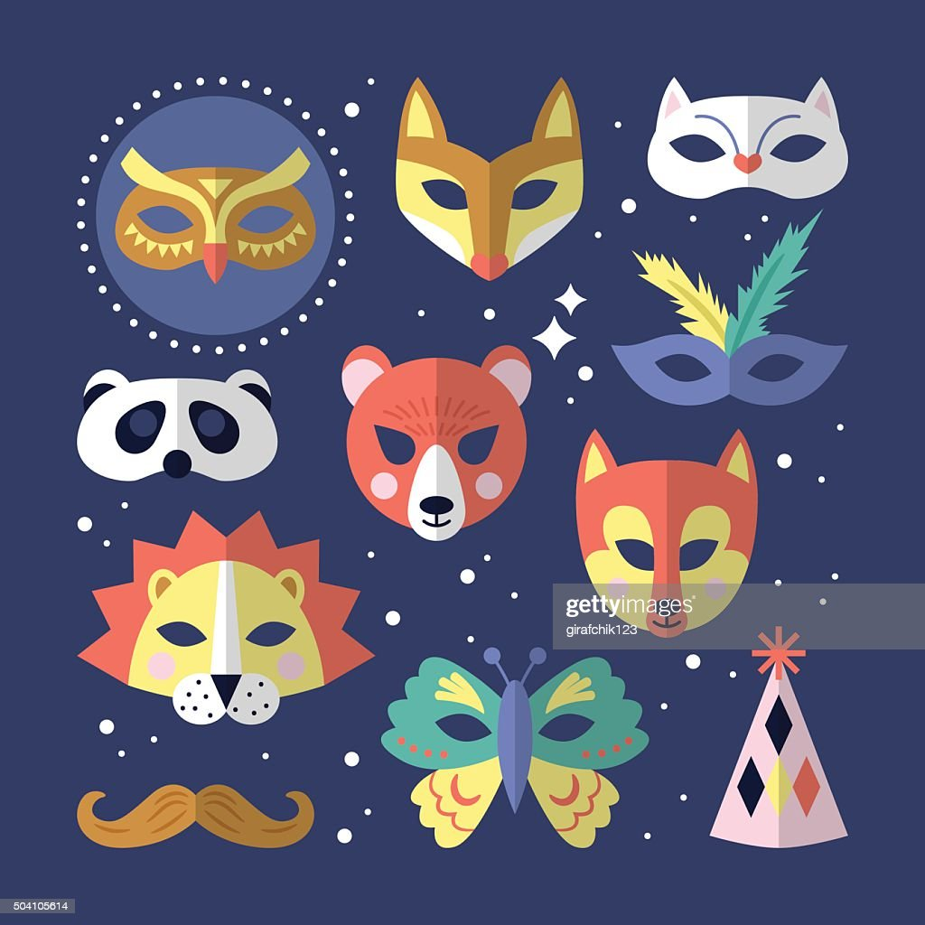 Carnival masks flat stylish design. Vector illustration