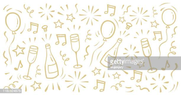 carnival, new year's eve, new year, party, ball, doodle background - party stock illustrations