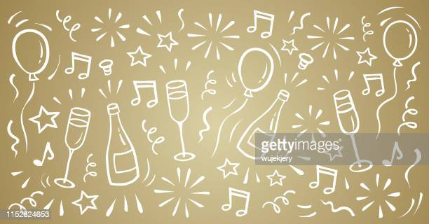 carnival, new year's eve, new year, party, ball, doodle background - champagne stock illustrations
