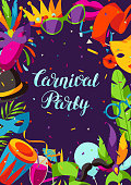 Carnival party background with celebration icons, objects and decor