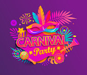 Carnival party invitation card.
