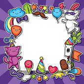 Carnival party kawaii background. Cute sticker cats, decorations for celebration