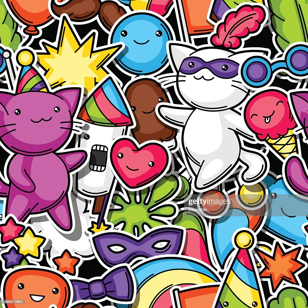 Carnival party kawaii seamless pattern. Cute sticker cats, decorations for