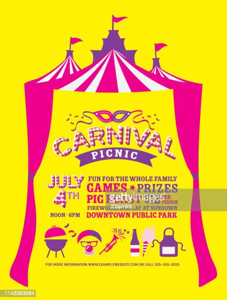 Carnival Picnic Fourth of July Party Invitation with Circus Tent