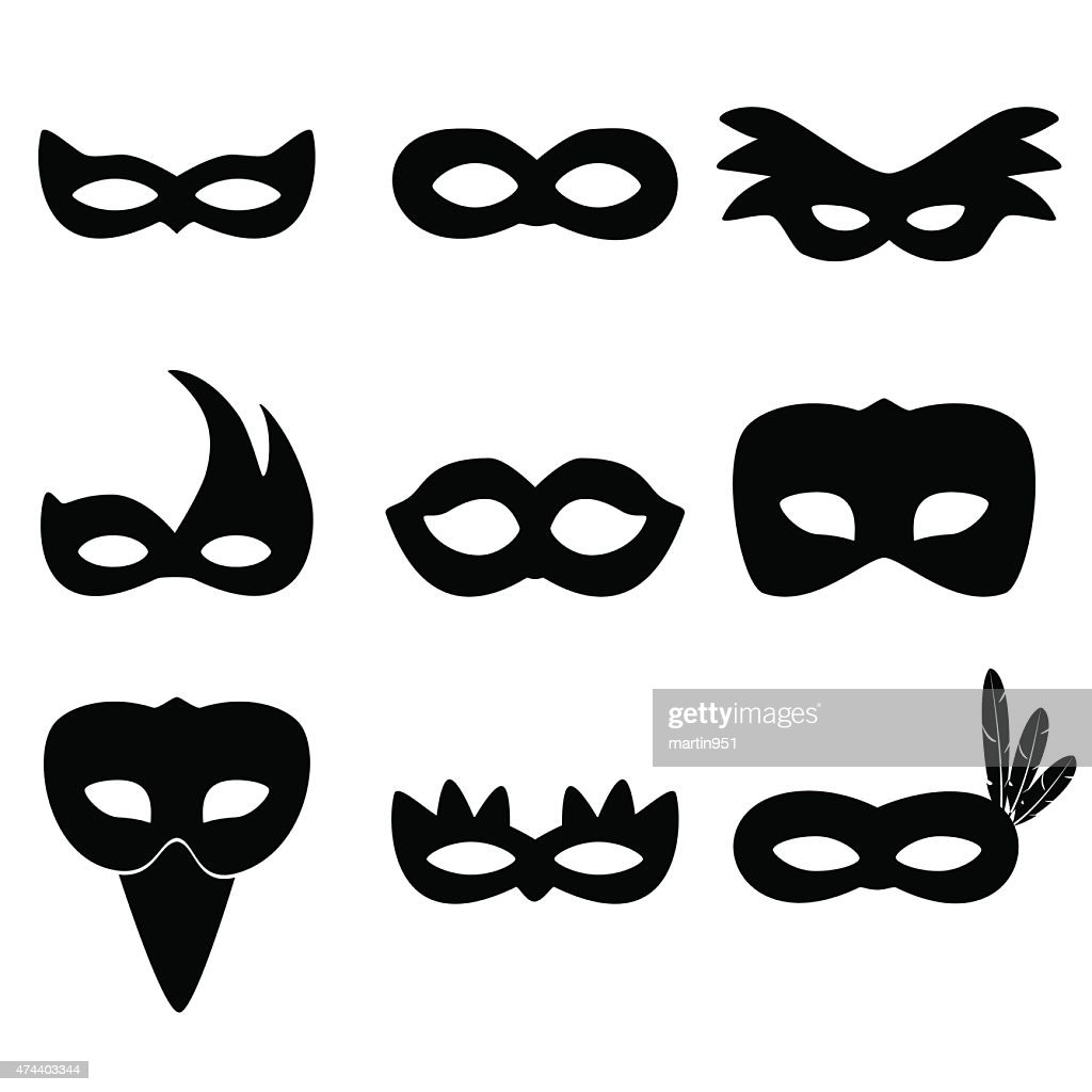 carnival rio black masks simple icons set eps10