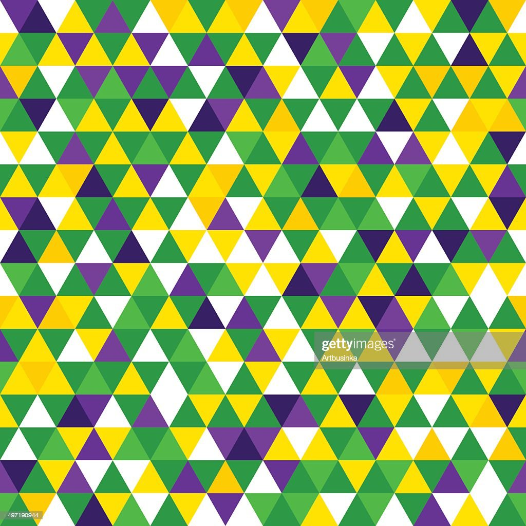 Carnival seamless pattern in triangles.