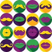 Carnival seamless pattern of moustache and lips