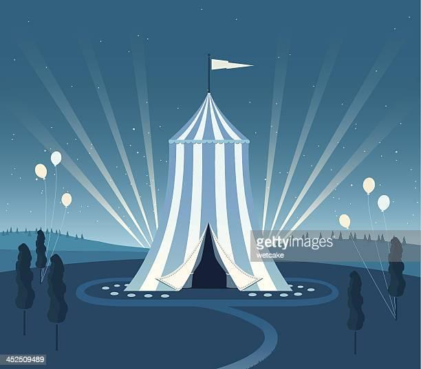 bildbanksillustrationer, clip art samt tecknat material och ikoner med carnival tent night scene - tält