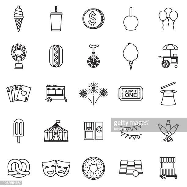 carnival thin line outline icon set - carnival celebration event stock illustrations, clip art, cartoons, & icons