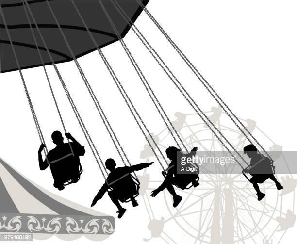 carnival thrills - carnival ride stock illustrations, clip art, cartoons, & icons