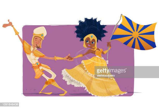 carnival (mestre-sala and porta-bandeira) - samba stock illustrations