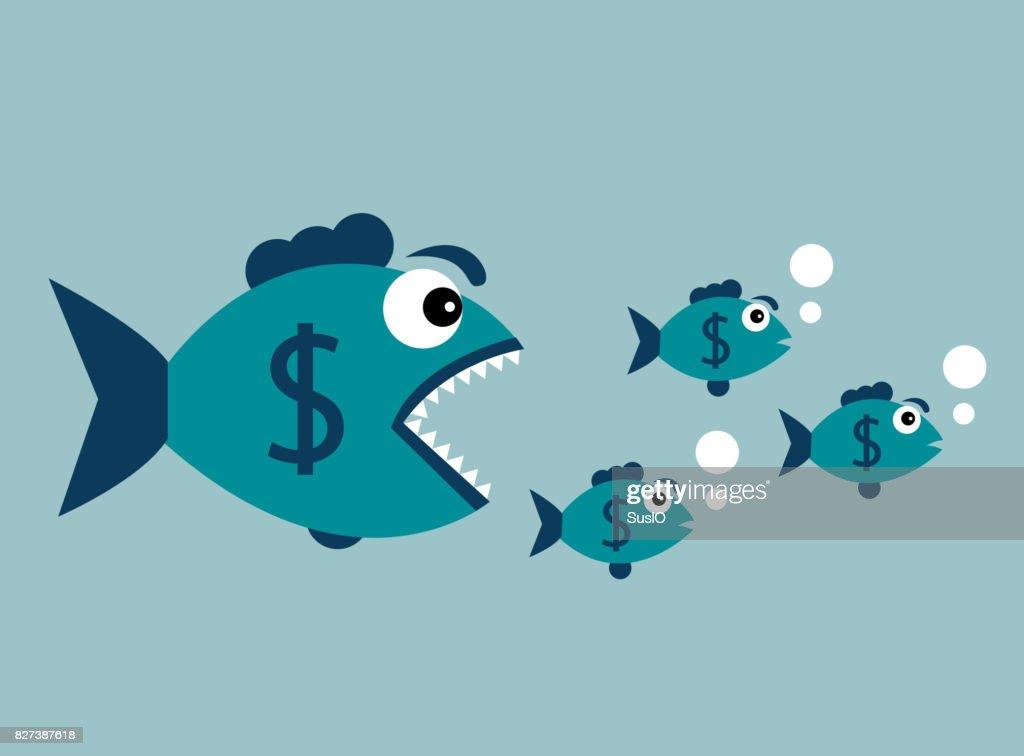 Carnivorous fish with dollar : Stock Illustration