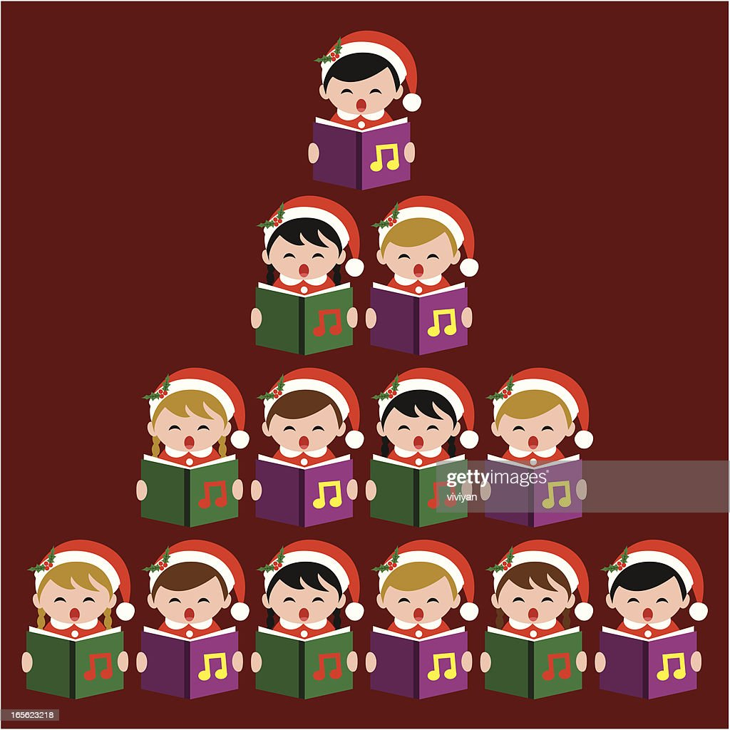 Caroling with Christmas tree