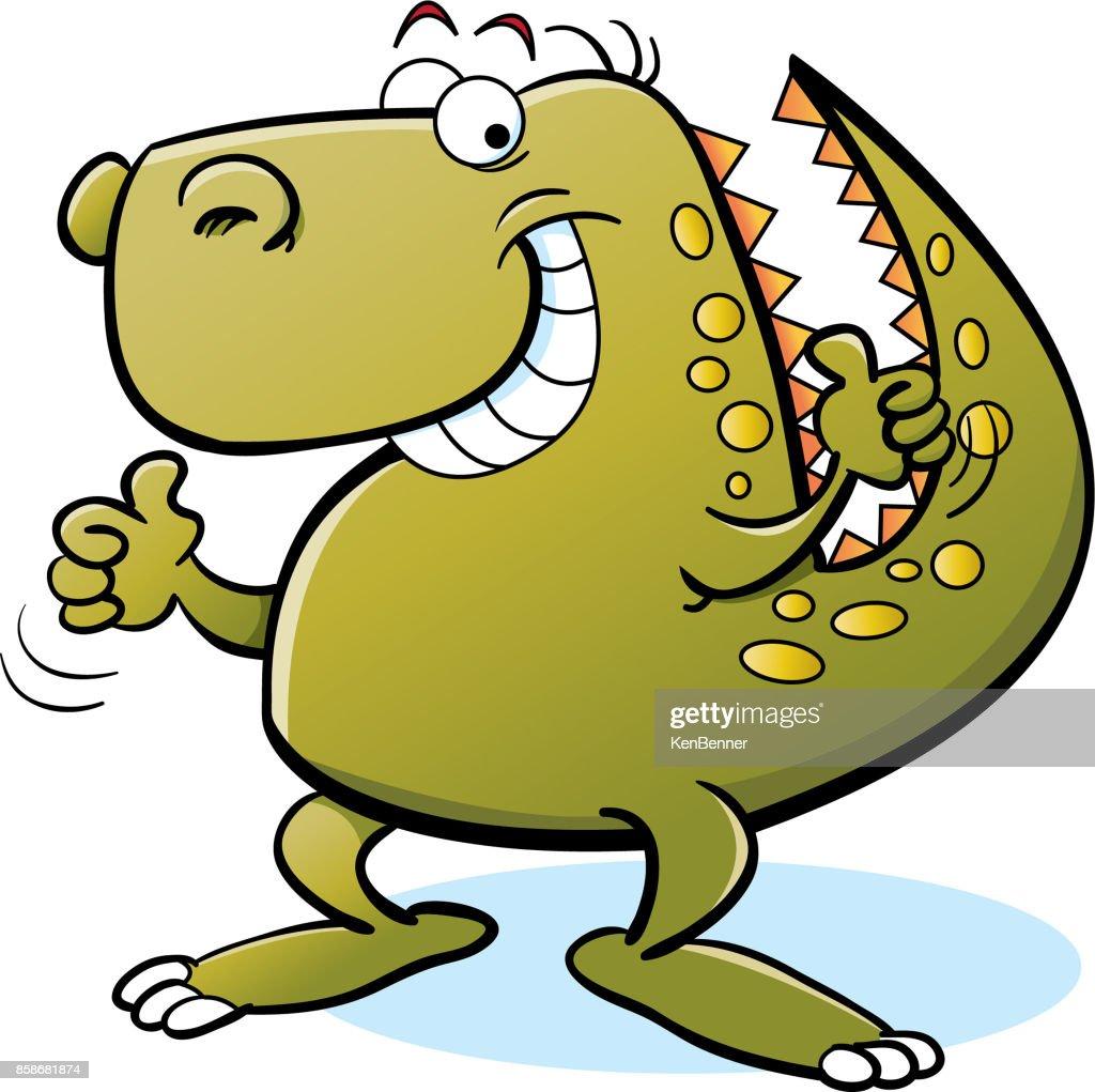 Caroon dinosaur giving thumbs up.