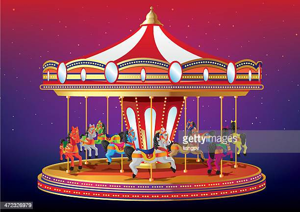carousal or merry go round - carnival ride stock illustrations, clip art, cartoons, & icons