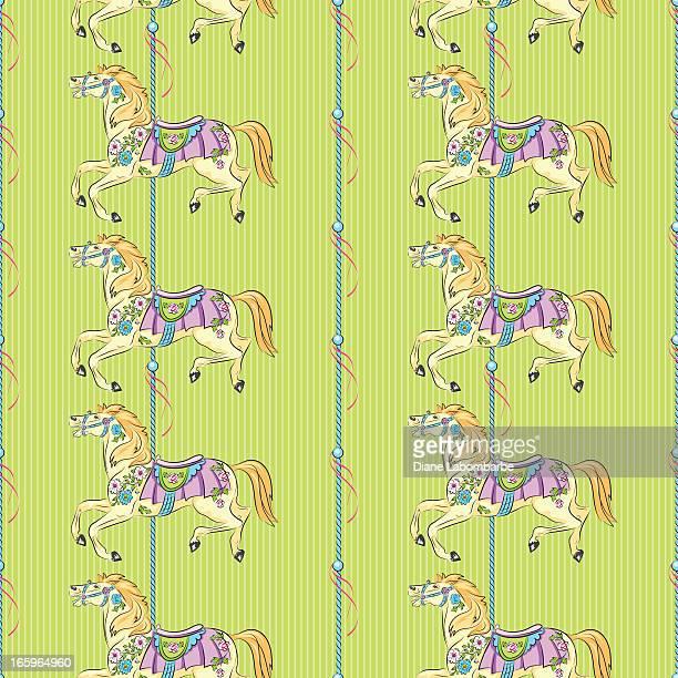 ilustraciones, imágenes clip art, dibujos animados e iconos de stock de caballos de carrusel patrón sobre verde - caballitos del tiovivo