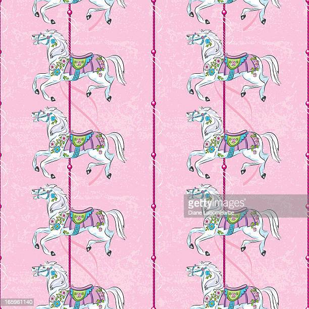 carousel horse pattern on pink - pony stock illustrations, clip art, cartoons, & icons