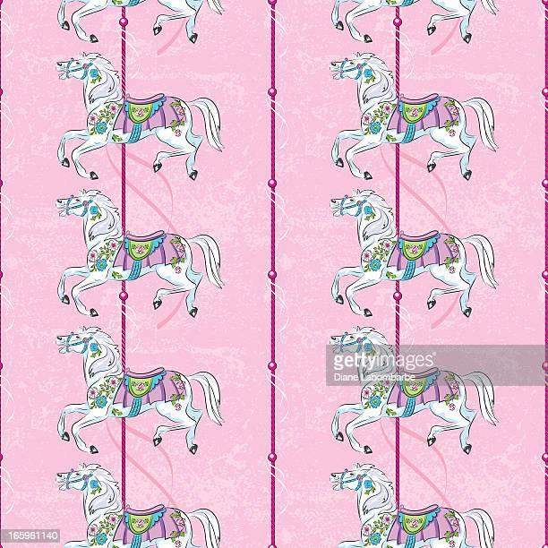 Carousel Horse Pattern On Pink