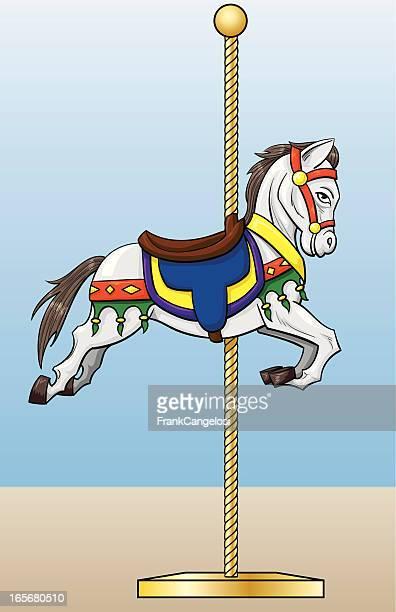 ilustraciones, imágenes clip art, dibujos animados e iconos de stock de caballos de carrusel - caballitos del tiovivo
