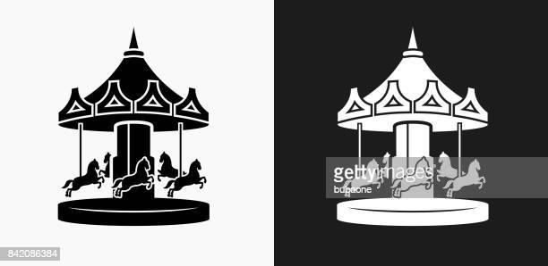 Carousel Icon on Black and White Vector Backgrounds