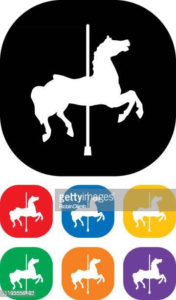 ilustraciones, imágenes clip art, dibujos animados e iconos de stock de juego de icono sin carrusel - caballitos del tiovivo