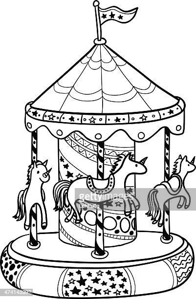 Carousel in black and white style