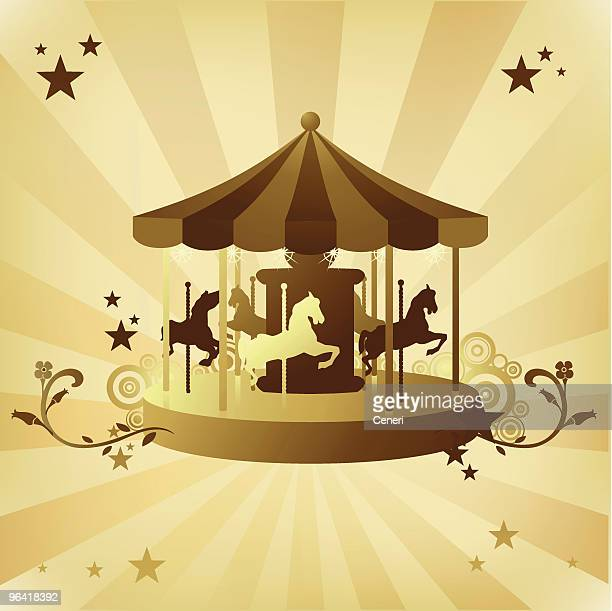 Carousel in gold and tan color