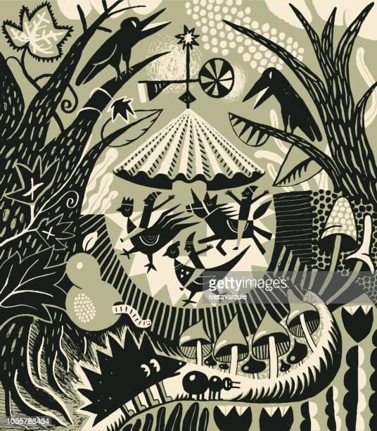 illustrations, cliparts, dessins animés et icônes de manège de woodland cadre avec les animaux et oiseaux - licorne