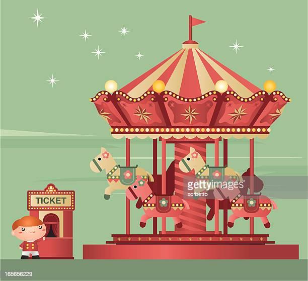 carousel - carnival ride stock illustrations, clip art, cartoons, & icons
