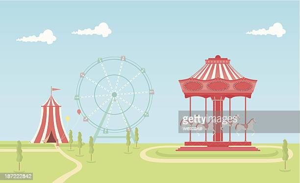 carousel - ferris wheel stock illustrations, clip art, cartoons, & icons