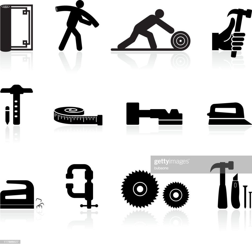 carpenter black and white royalty free vector icon set : stock illustration