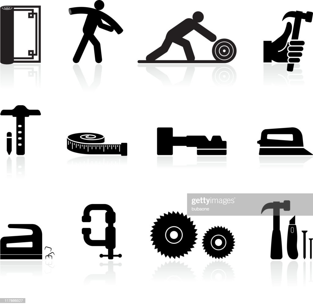 carpenter black and white royalty free vector icon set