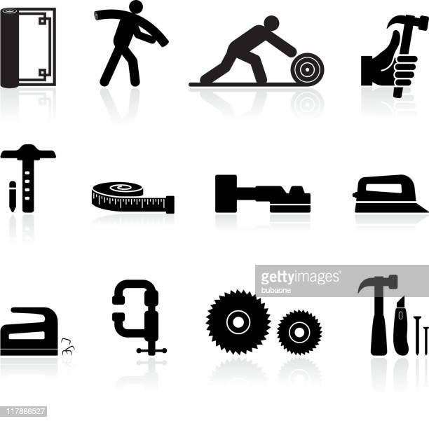 carpenter black and white royalty free vector icon set - carpentry stock illustrations