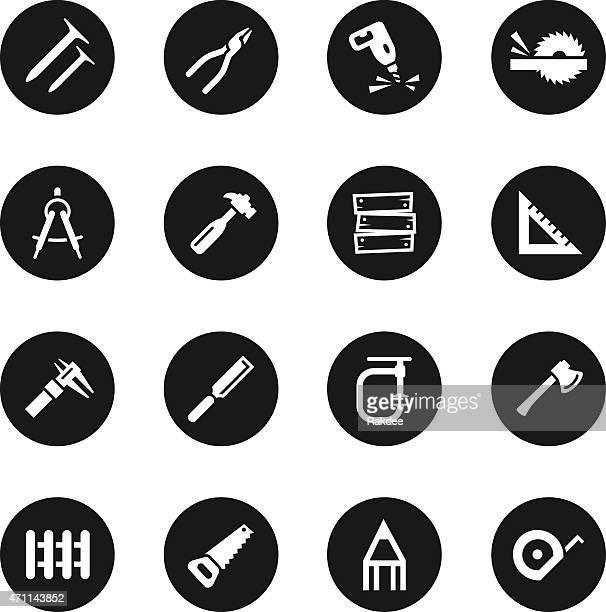 Carpinteiro ícones-círculo preto série