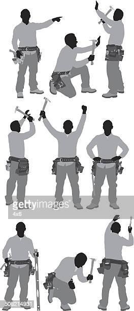 ilustrações, clipart, desenhos animados e ícones de carpenter em várias posições - estereótipo de classe trabalhadora