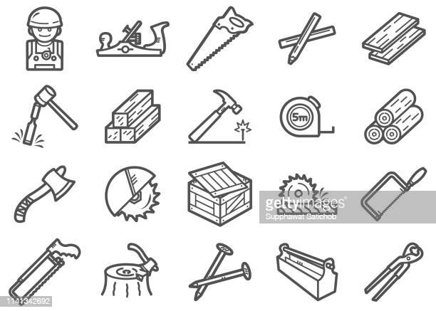 carpenter line icons set - art and craft stock illustrations