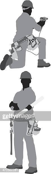 ilustrações, clipart, desenhos animados e ícones de carpenter posando - estereótipo de classe trabalhadora