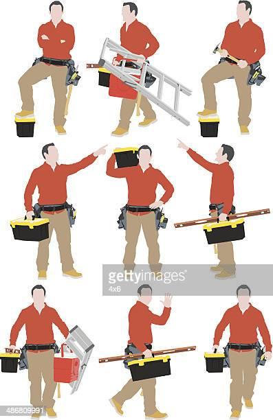 carpenter - tool belt stock illustrations, clip art, cartoons, & icons