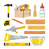 Carpentry And Woodwork Tools Set Vector. Repair And Building Accessories. Board, Hammer, Toolbox, Brush, Glue, Pencil, Tape Measure, Saw, Ruler, Bucket, Drill. Isolated Flat Cartoon Illustration