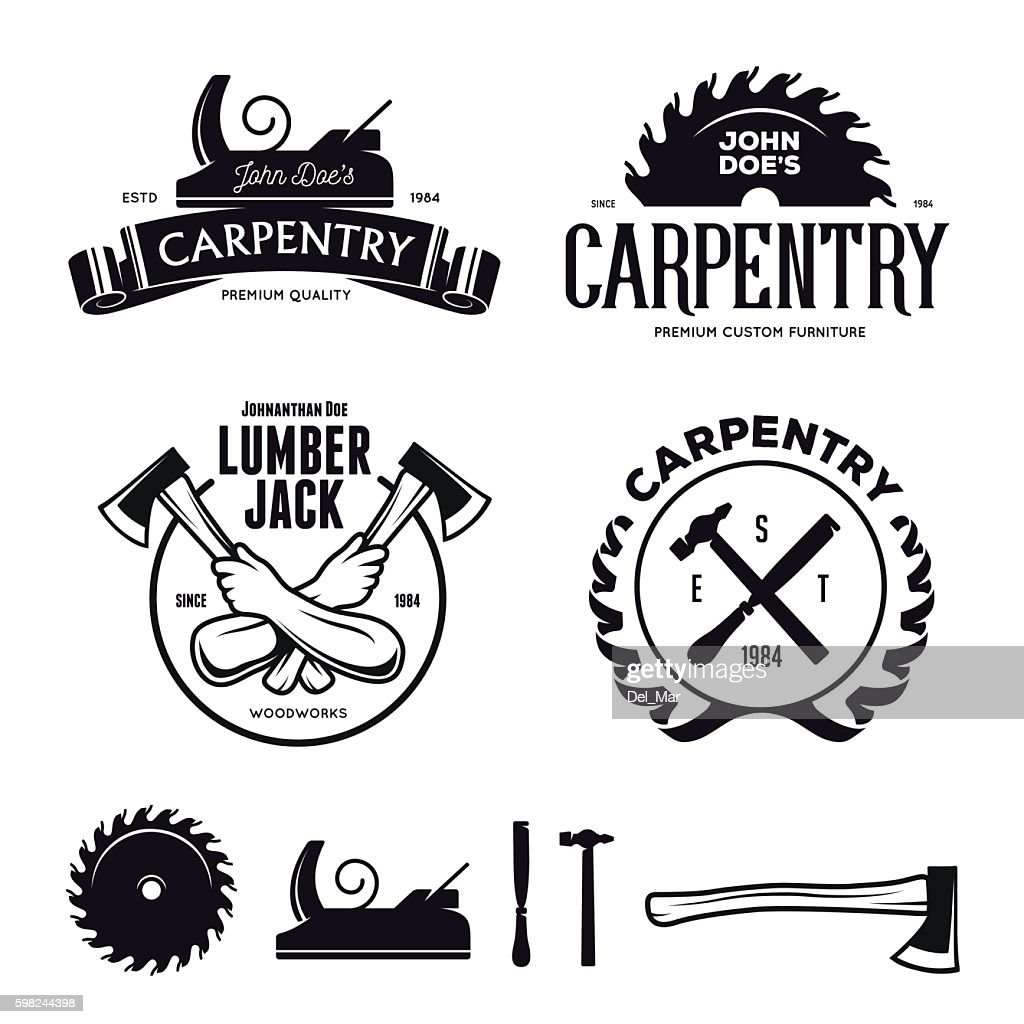 Carpentry emblems, badges, design elements. Vector vintage illustration.