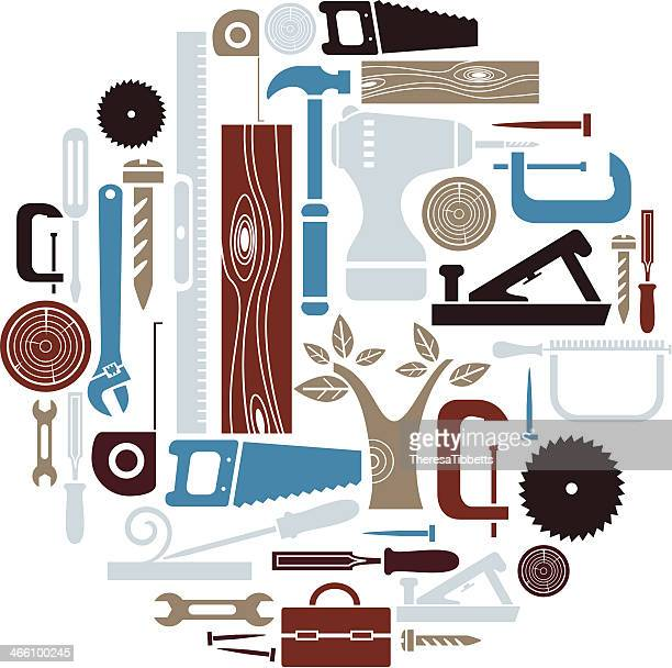 carpentry icon set - carpenter stock illustrations