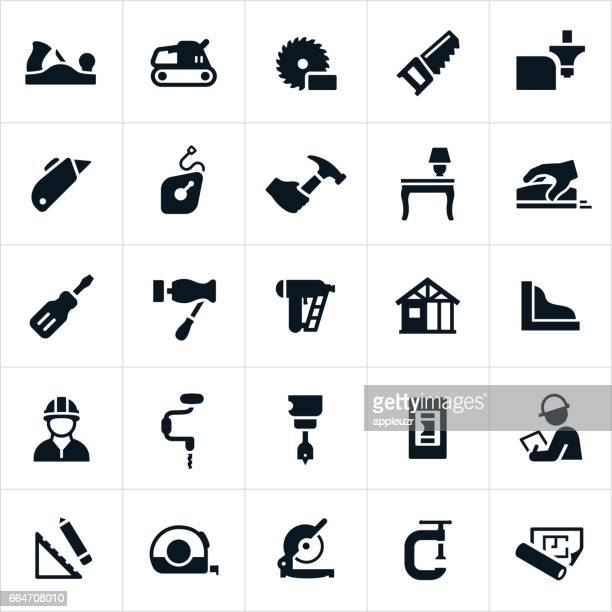 carpentry icons - carpenter stock illustrations