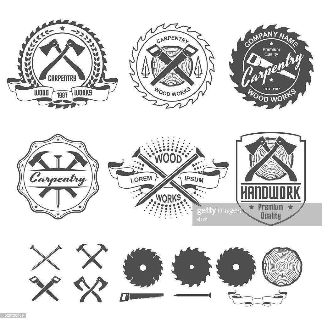 Carpentry labels emblems and design elements