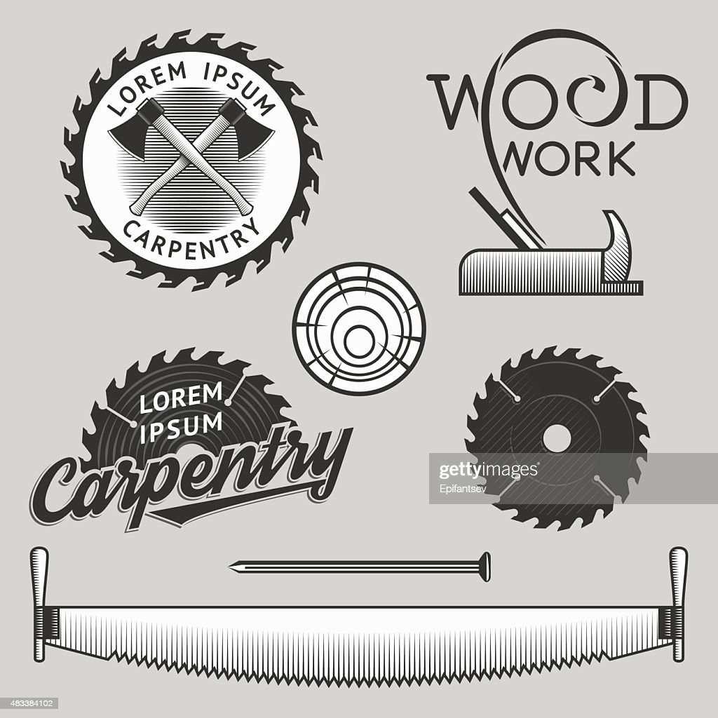 Carpentry logos, labels and design elements. Stock vector.