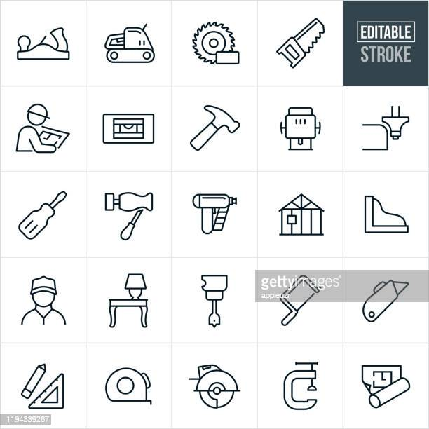 carpentry thin line icons - editable stroke - carpenter stock illustrations