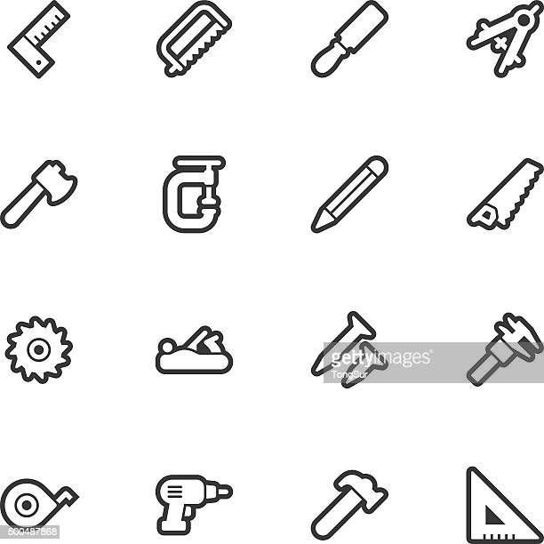 carpentry tools icons - regular outline - carpenter stock illustrations