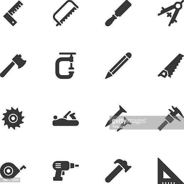 carpentry tools icons - regular - carpenter stock illustrations
