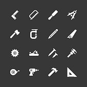 Carpentry tools icons - Regular - White Series