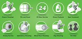 Carpet cleaning business service icons